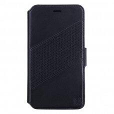 """iphone xs max atverčiamas dėklas """"nillkin folio"""" dviejų dalių naturali oda juodas"""
