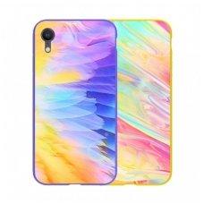 iphone xr dėklas nillkin ombre pc+grūdintas stiklas violetinis