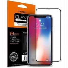 Akcija! Iphone XR/11 Spigen Glass Fc stiklas juodais kraštais