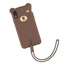 Akcija! iPhone XR silikoninis dėklas Baseus Bear su virvute rudas