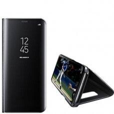 Akcija! Huawei Mate lite atverčiamas dėklas Clear View veidrodiniu-permatomu dangteliu juodas