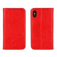 iphone x/xs ATVERČIAMAS DĖKLAS BOOK SPECIAL TIKRA ODA raudonas