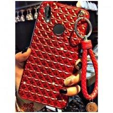Huawei p20 lite dėklas 3d diamond silikonas raudonas