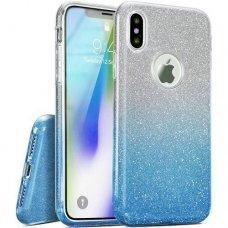 Akcija ! iphone x/xs dėklas glitter silikonas sidabrinis-žydras
