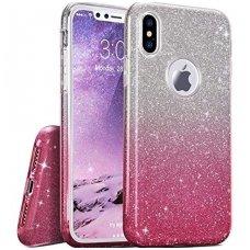 Akcija ! iphone x/xs DĖKLAS GLITTER SILIKONINIS sidabrinis-rožinis
