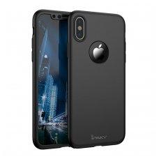 iphone x/xs DĖKLAS ipaky 360 model PRIEKINĖ, GALINĖ DALIS, GRŪDINTAS SIKLAS, PILNA 360 LAIPSNIŲ APSAUGA juodas
