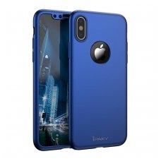 iphone x/xs DĖKLAS ipaky 360 model PRIEKINĖ, GALINĖ DALIS, GRŪDINTAS SIKLAS, PILNA 360 LAIPSNIŲ APSAUGA mėlynas