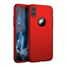 iphone x/xs DĖKLAS ipaky 360 model PRIEKINĖ, GALINĖ DALIS, GRŪDINTAS SIKLAS, PILNA 360 LAIPSNIŲ APSAUGA raudonas