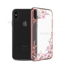 iphone x/xs dėklas kingxbar plastikas su swarovski rožinis