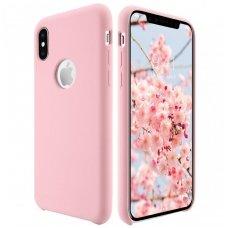 """iphone x/xs dėklas """"Liquid silicon""""  silikonas rožinis"""