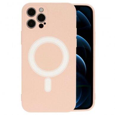 Akcija! Iphone 12 pro dėklas Mag Silicone rožinis