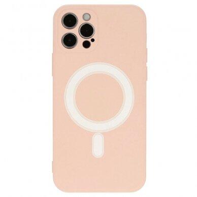 Akcija! Iphone 12 pro dėklas Mag Silicone rožinis 2