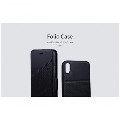 iphone xr dėklas nillkin folio 2in1 pu oda juodas 4