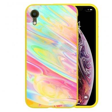 iphone xr dėklas nillkin ombre pc+grūdintas stiklas geltonas