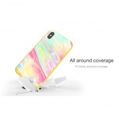 iphone xr dėklas nillkin ombre pc+grūdintas stiklas geltonas 3