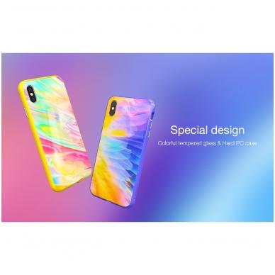 iphone xr dėklas nillkin ombre pc+grūdintas stiklas geltonas 4