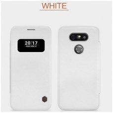 LG G5 Atverčiamas dėklas Nillkin QIN TIKRA ODA BALTAS