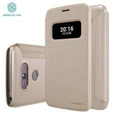 LG G5 Atverčiamas dėklas Nillkin Sparkle PC plastikas ir PU oda  smėlinis