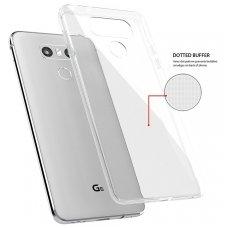 LG Q7 dėklas Skaidrus 0,3mm SILIKONINIS ultra slim