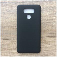 LG G6 juodas matinis smugiams atsparus plastikinis dėklas