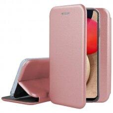 samsung galaxy a02s atverčiamas dėklas Book elegance odinis rožinis