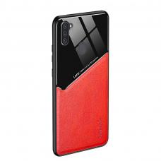 Samsung Galaxy A11 / M11 dėklas su įmontuota metaline plokštele LENS case Raudonas