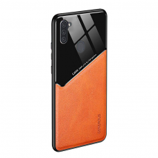 Samsung Galaxy A11 / M11 dėklas su įmontuota metaline plokštele LENS case Oranžinis