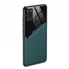 Samsung Galaxy A21s dėklas su įmontuota metaline plokštele LENS case Žalias