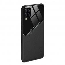 Samsung Galaxy A12 dėklas su įmontuota metaline plokštele LENS case juodas