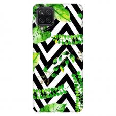 """Samsung Galaxy A12 TPU dėklas unikaliu dizainu 1.0 mm """"u-case Airskin Leaves 2 design"""""""