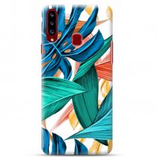 """Samsung Galaxy A20s TPU dėklas unikaliu dizainu 1.0 mm """"u-case Airskin Leaves 1 design"""""""