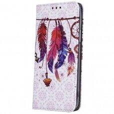 Huawei Y6p atverčiamas dėklas Smart Trendy plunksnos 2