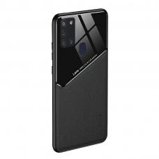 Samsung Galaxy A21s dėklas su įmontuota metaline plokštele LENS case Juodas