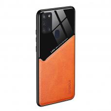 Samsung Galaxy A21s dėklas su įmontuota metaline plokštele LENS case Oranžinis