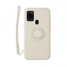 Samsung Galaxy a21s dėklas su magnetu Pastel Ring Baltas