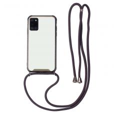 Samsung galaxy a51 dėklas su virvute Strap skaidrus-juodas