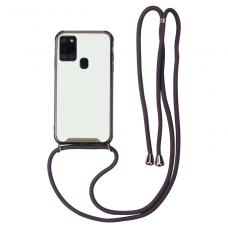 Samsung galaxy a21s dėklas su virvute Strap skaidrus-juodas