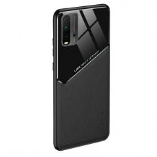 Xiaomi Poco M3 dėklas su įmontuota metaline plokštele LENS case Juodas