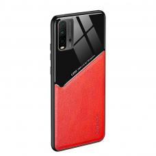 Xiaomi Redmi 9T dėklas su įmontuota metaline plokštele LENS case raudonas
