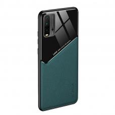 Xiaomi Redmi 9T dėklas su įmontuota metaline plokštele LENS case žalias