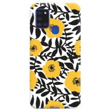 """Samsung Galaxy A21s TPU dėklas unikaliu dizainu 1.0 mm """"u-case Airskin Flowers 2 design"""""""