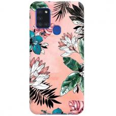 """Samsung Galaxy A21s TPU dėklas unikaliu dizainu 1.0 mm """"u-case Airskin Flowers 1 design"""""""