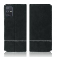 Samsung Galaxy A31 atverčiamas dėklas/piniginė SMART SUEDE juodas