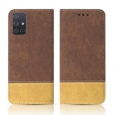 Samsung Galaxy A41 atverčiamas dėklas/piniginė SMART SUEDE rudas