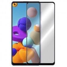 Akcija! Samsung Galaxy A21s apsauginis stikliukas 9D Full Glue juodais kraštais