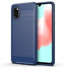 Akcija! Samsung galaxy a41 dėklas carbon lux silikonas mėlynas