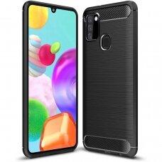 Samsung galaxy a21s dėklas carbon lux silikonas juodas