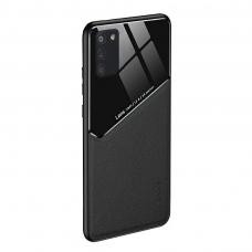 Samsung Galaxy A41 dėklas su įmontuota metaline plokštele LENS case Juodas