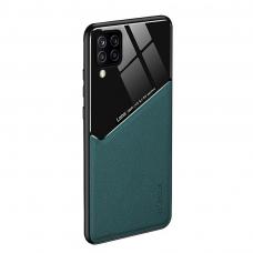 Samsung Galaxy A12 dėklas su įmontuota metaline plokštele LENS case Žalias