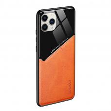 Iphone 11 pro dėklas su įmontuota metaline plokštele LENS case Oranžinis